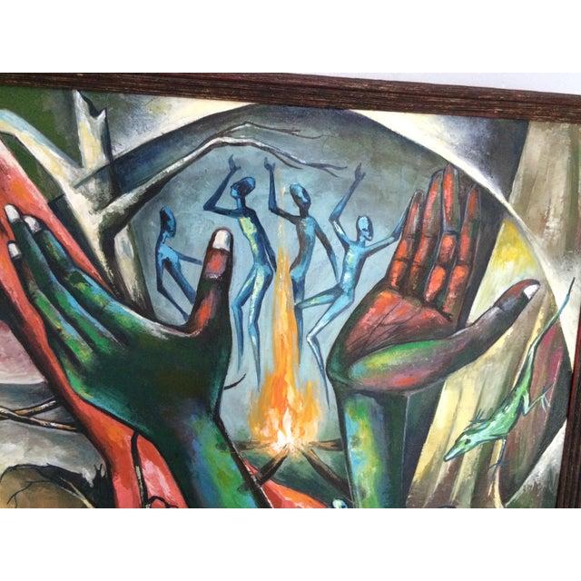 Haitian Voodoo Oil Painting, 1972 - Image 4 of 8