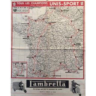 1957 Original French Bicycle Poster, Tour de France Map