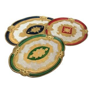 Vintage Italian Florentine Wooden Oval Serving Trays - Set of 3