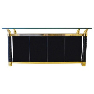 Black Lacquer Hollywood Regency Cabinet by Weiman
