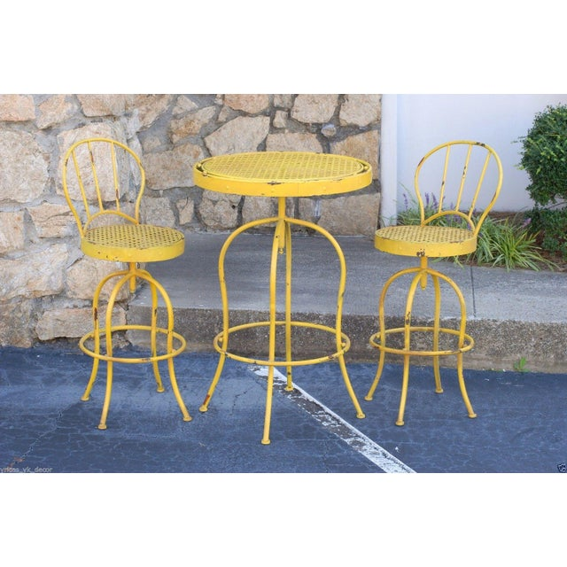 Yellow Metal French Bistro Garden Table & Chairs - Image 3 of 5