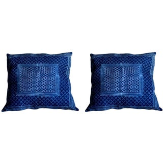 Sindhi Block Print Indigo Pillow Covers- A Pair