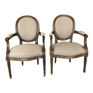 French Provincial Style Carved & Upholstered Wood Armchairs - A Pair