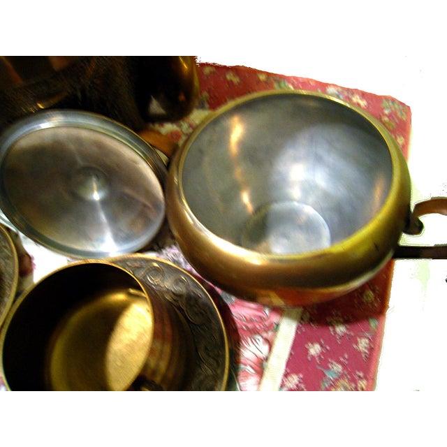 Vintage Hammered Brass Goldfish Tea Set - Image 6 of 10