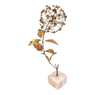 White Marble & Metal Flower Sculpture