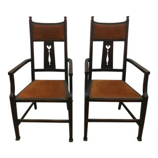1930s Arts & Crafts Burnt Orange Chair - A Pair