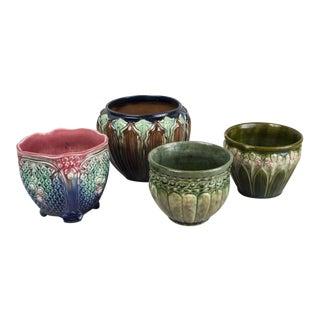 Majolica Pottery Jardinieres Planters- Set of 4