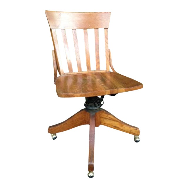 Antique Wood Office Swivel Chair - Image 1 of 9