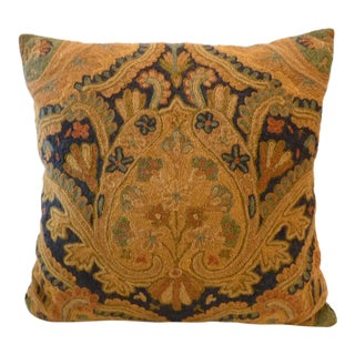 Vintage Crewelwork Throw Pillow