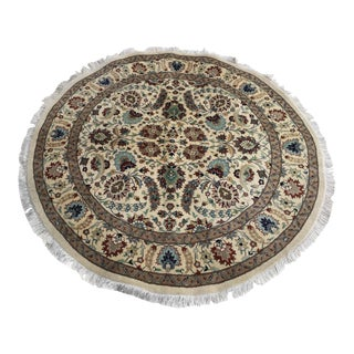 Round Hand Knotted Indian Rug - 5′6″ × 5′6″
