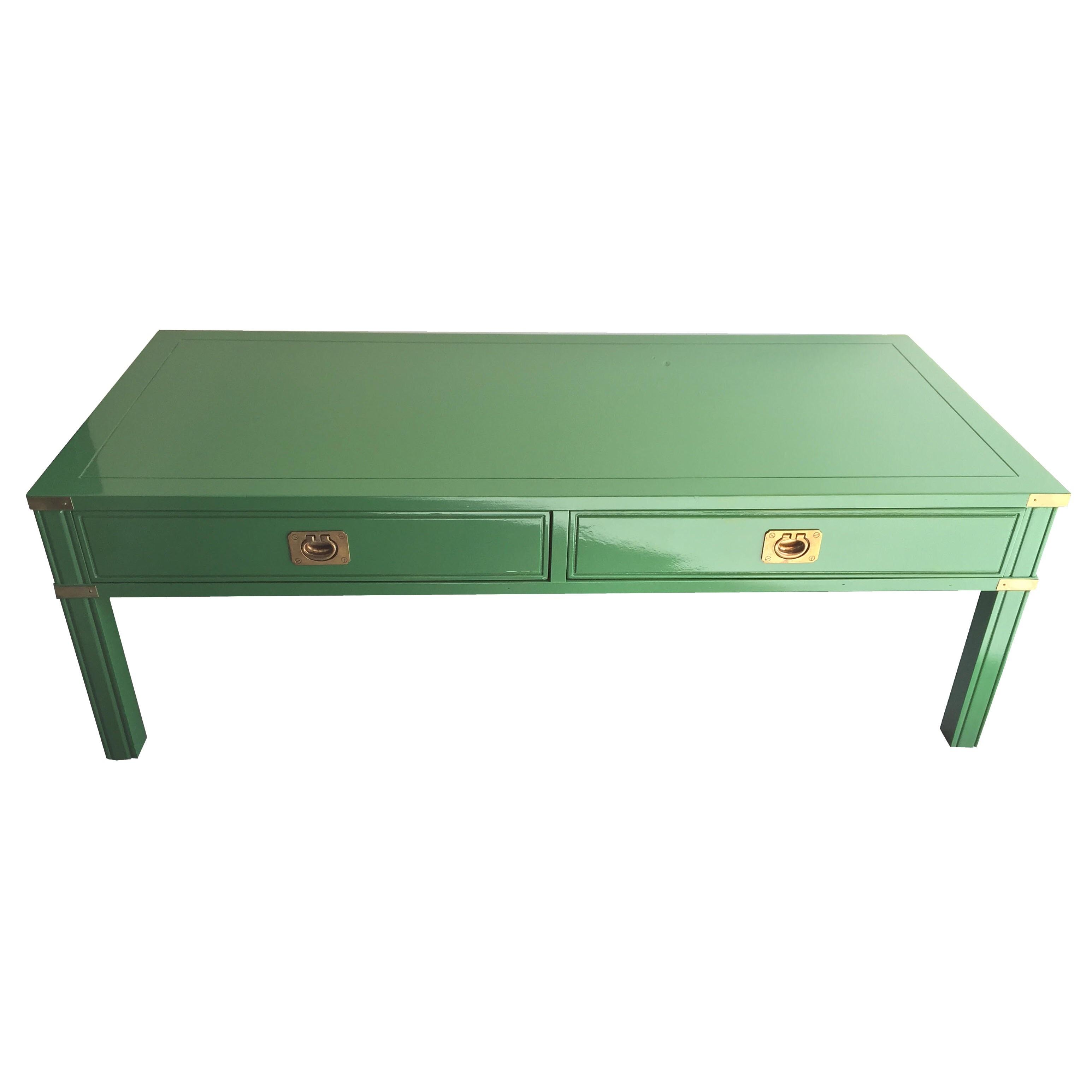 Vintage Campaign Style Lacquered Coffee Table   Image 2 Of 8