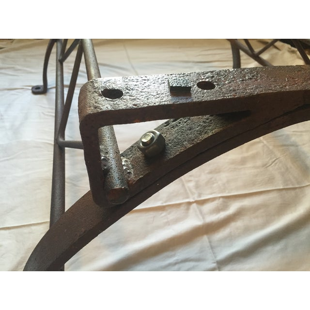 Repurposed Iron Barrel Holder Glass Top Table - Image 4 of 7
