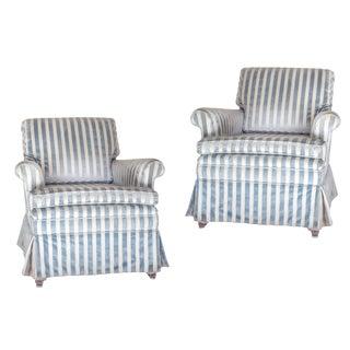 Blue & White Stripe Club Chairs - A Pair