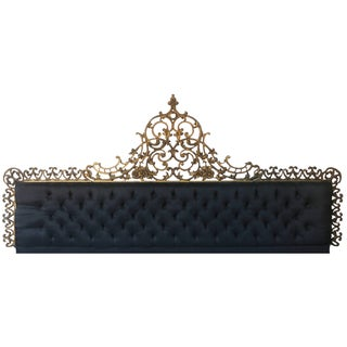 Vintage Raw Black Silk Baroque King Headboard