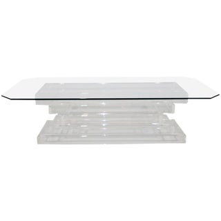 Stacked Lucite with Glass Top Coffee Table