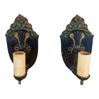 Enameled Metal Wall Sconces - A Pair