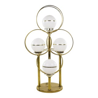 Mid-Century Brass Tier 4-Globe Lamp