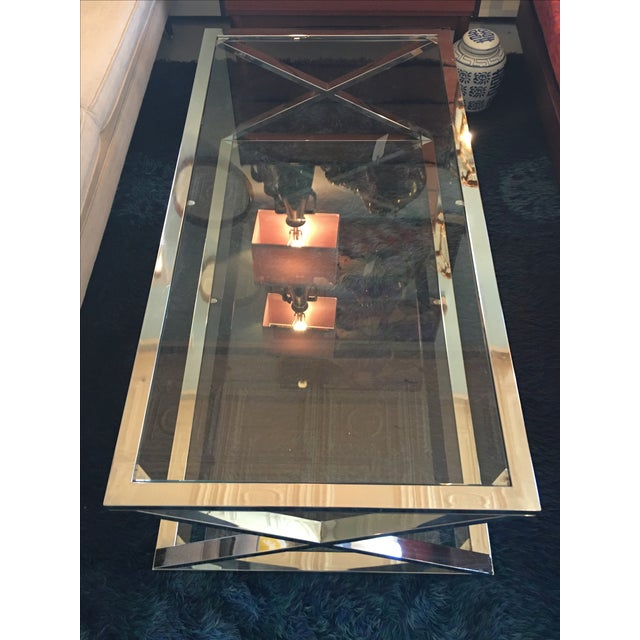 Vintage Milo Baughman Style Chrome Coffee Table - Image 3 of 5