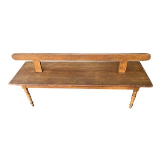 Antique Faux Grain Finish Railway Station Bench