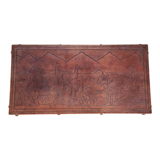 Peruvian Hand Tooled Leather Bench