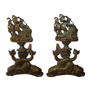 Vintage Fireplace Andirons Galleon & Dolphin Fish - Pair
