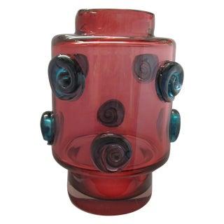 Modernist Czech Art Glass Vase, Hospodka Prachen