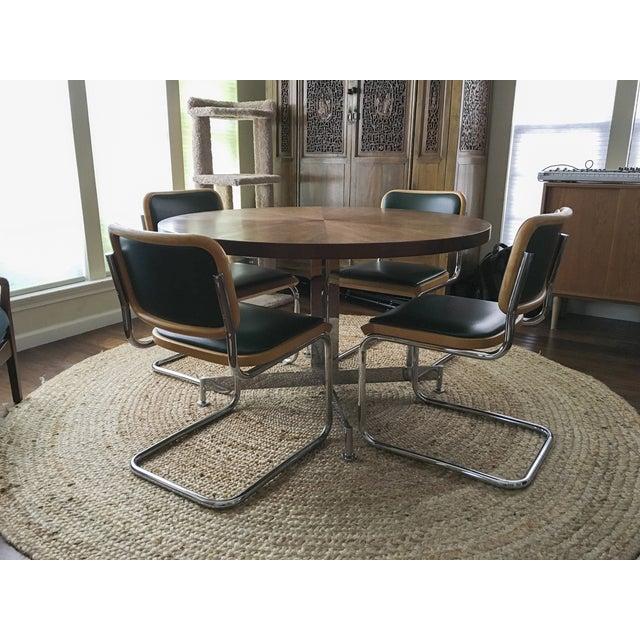 Vintage MCM Chrome & Walnut Dining Table - Image 7 of 8