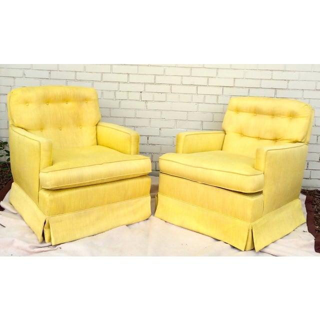 1960s Yellow Swivel Club Chairs - Image 2 of 10