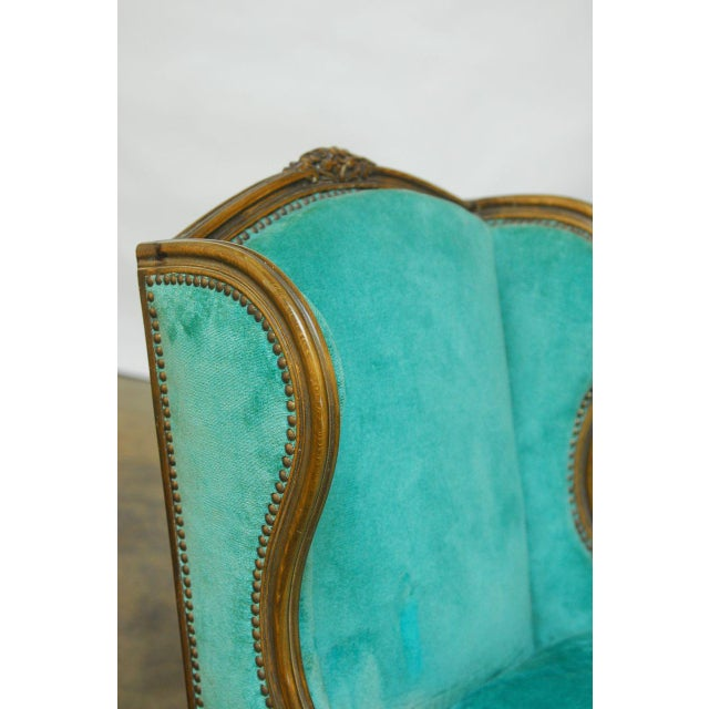 Louis XV Turquoise Velvet Wingback Chairs - Image 4 of 7