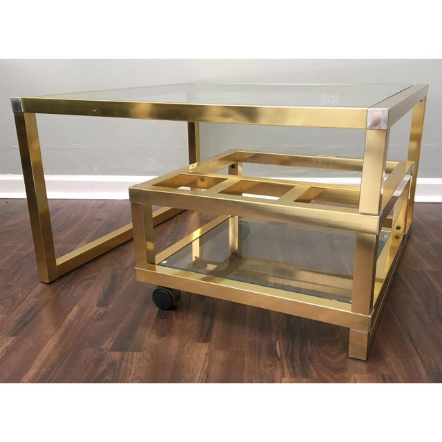 Cubist Brass Swivel Coffee Table with Wine Rack After Milo Baughman - Image 5 of 7