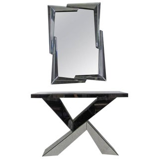 Mid-Century Modern Style Mirrored Console Table with Wall Mirror