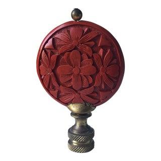 Vintage Carved Cinnabar Lamp Finial