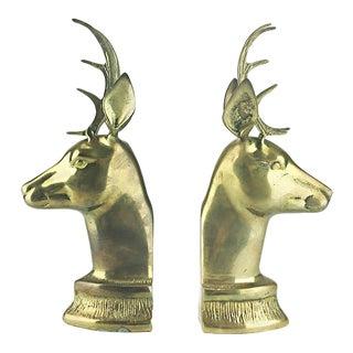 Vintage Elk Brass Bookends - A Pair