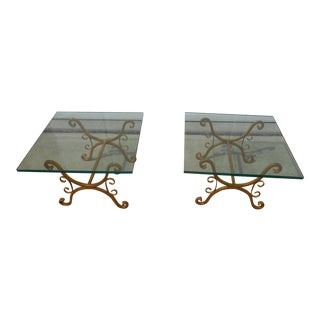 Hollywood Regency Gold Gilt Wrought Iron & Glass Side Tables - A Pair
