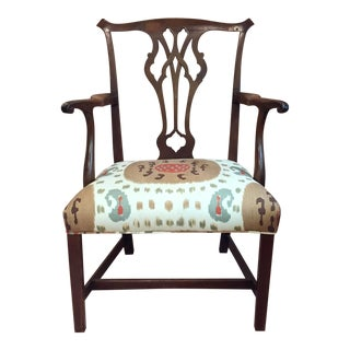 Chippendale Armchair With Ikat Upholstery