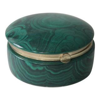Faux Malachite Porcelain Box