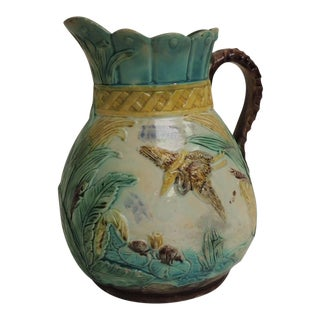 Antique Majolica Ceramic Water Jug with Handle