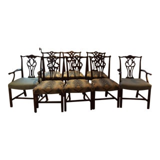 Antique Solid Mahogany Chippendale Dining Chairs - Set of 8