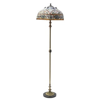 Early 20th Century Mosiac Floor Lamp With Black Stone Base