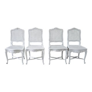 Antique French Country Style Cane Back Dining Chairs - Set of Four