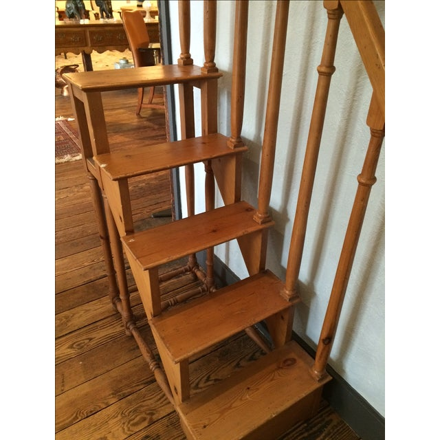 Tall Vintage Oak Library Steps - Image 5 of 6