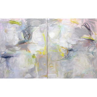 """Trixie Pitts """"Wonderful World"""" Large Oil Diptych"""