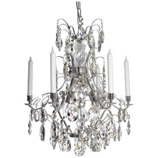 Baroque 6-Arm Nickel Almond Crystal Chandelier
