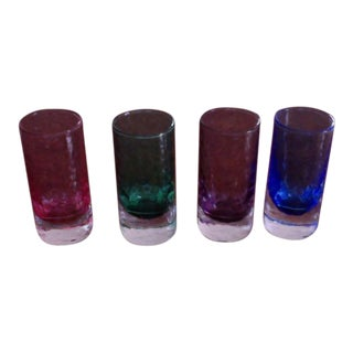 Hand Blown Tinted Shot Glasses - Set of 4