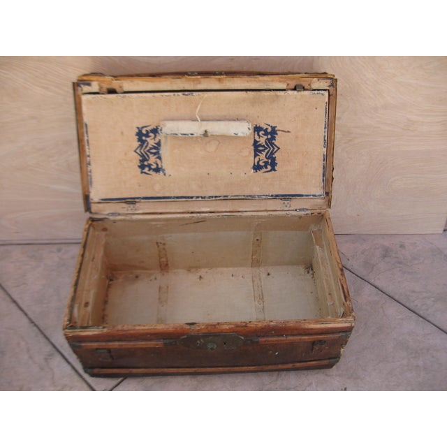 Antique Rustic Embossed Leather & Wood Trunk - Image 5 of 9