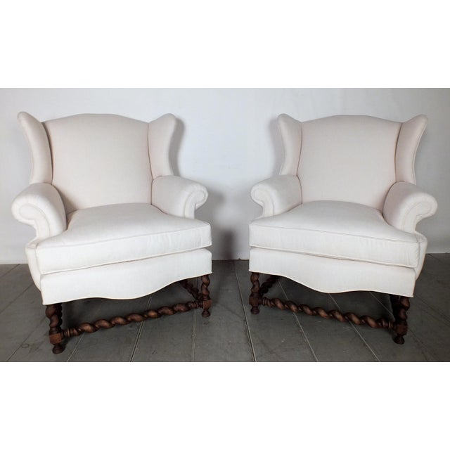 Antique Traditional Wingback Chairs - A Pair - Image 2 of 9