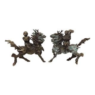 Antique Brass Dragon & Rider - A Pair