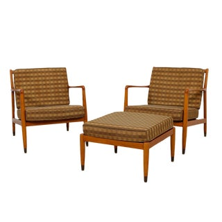 Early Swedish Modern Lounge Chairs with Ottoman - Set of 3