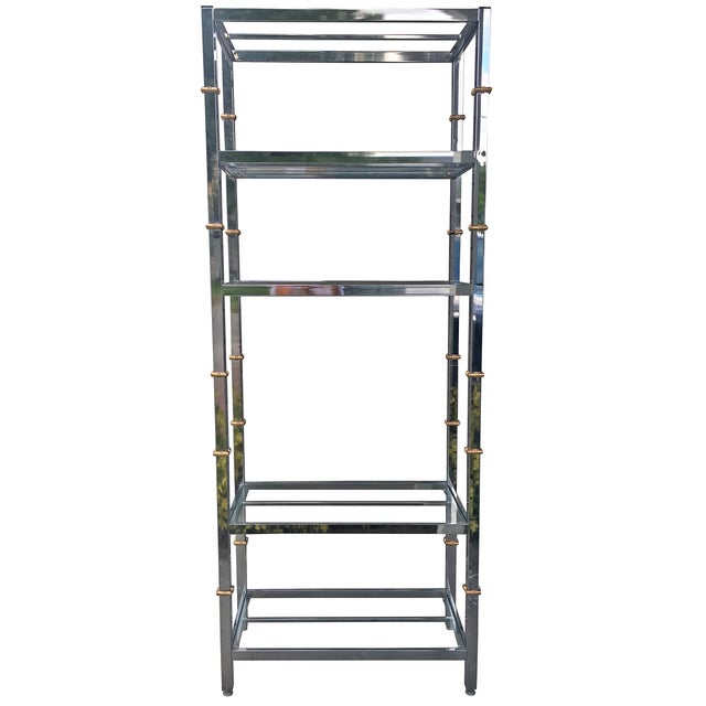 Chrome Etagere with Gold Faux Bamboo Accents - Image 1 of 4