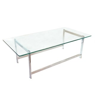 Glass Top Chrome Coffee Table